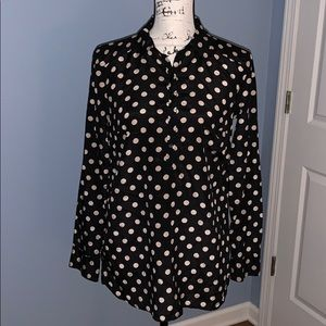Tops - ANN TAYLOR BLACK AND TAN BLOUSE SMALL